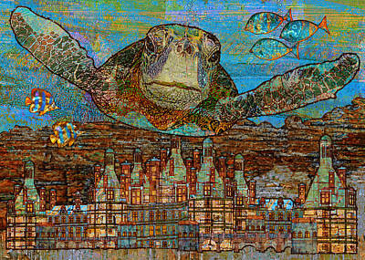 Sea Turtle Over Atlantis Art Print