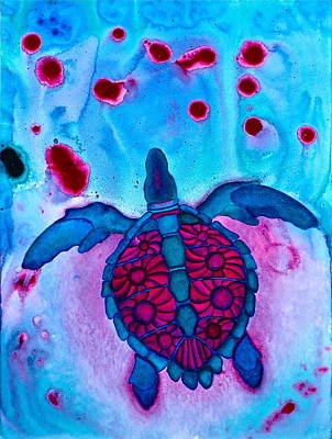 Painting - Sea Turtle Take Off by Lori Miller