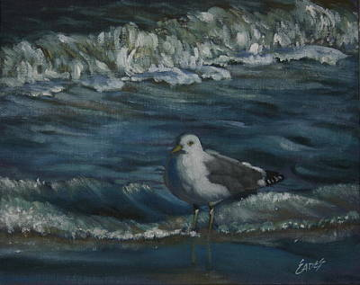 Sea Birds Painting - Seagull Beach by Linda Eades Blackburn