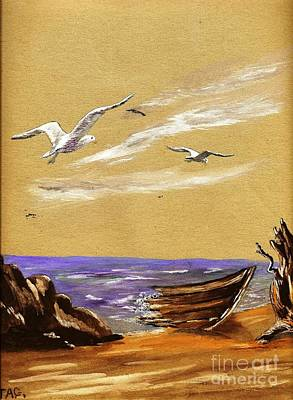 Painting - Seagulls Adrift by Jessi and James Gault