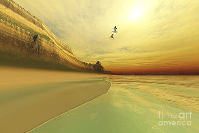 Desert Island Digital Art - Seagulls Fly Near The Mountains Of This by Corey Ford