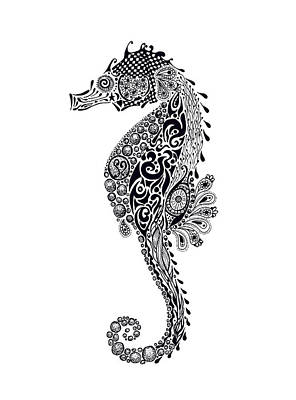 Stickers Drawing - Seahorse by Jacqueline Eden