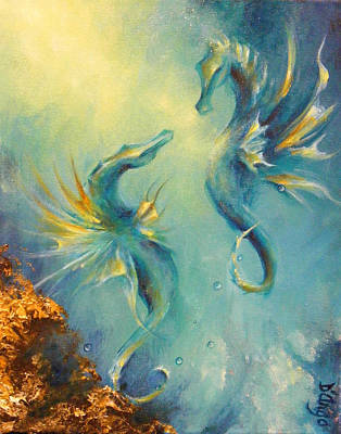 Seahorses In Love 4 Art Print