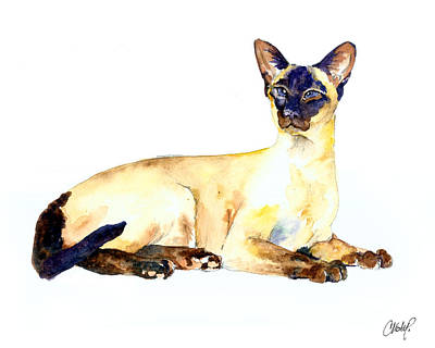 Sphynx Cat Painting - Seal Point Siamese Cat Old by Christy  Freeman