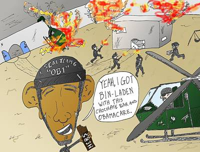 Obamacare Mixed Media - Seal Team 6 Ob1 Cartoon by OptionsClick BlogArt