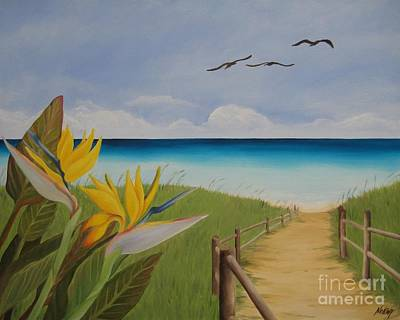 Print featuring the painting Seascape by Jindra Noewi