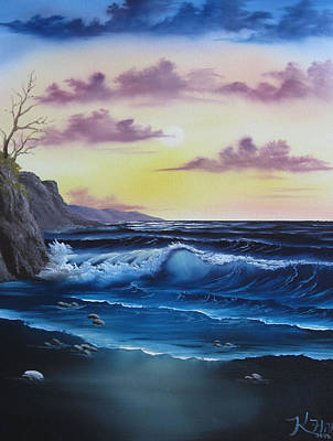 Seascape Sunset Art Print by Kevin Hill