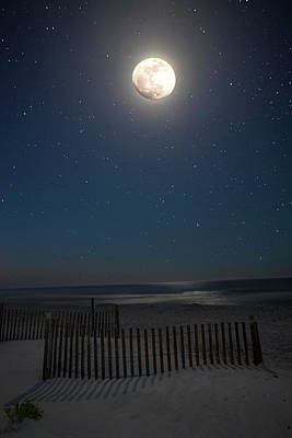 Photograph - Seaside Moonset by Charles Warren