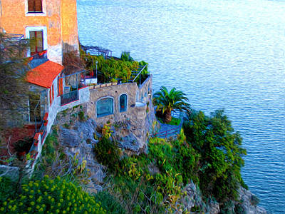 Seaside Villa Amalfi Art Print by Bill Cannon