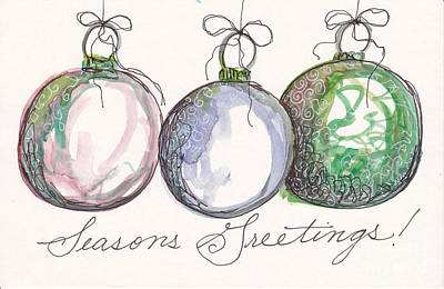 Seasons Greetings Antique Ornaments Original
