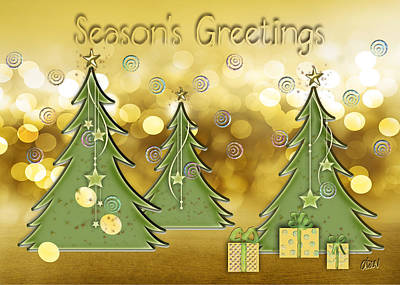 Xmas Cards Digital Art - Season's Greetings by Arline Wagner