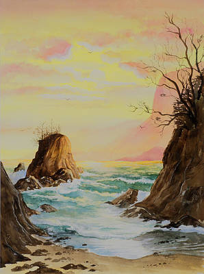 Seastack Sunset Art Print