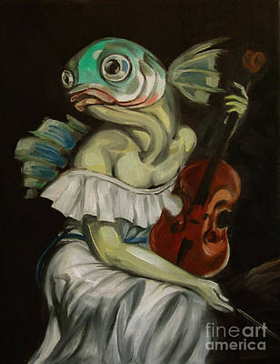Seated Fish With Violin Original by Ellen Marcus