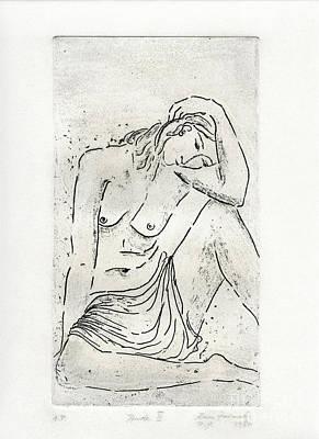 Drawing - Seated Nude by Karin Zukowski