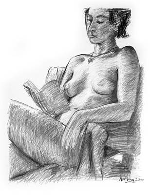 Brunette Drawing - Seated Nude Reading Figure Drawing by Adam Long