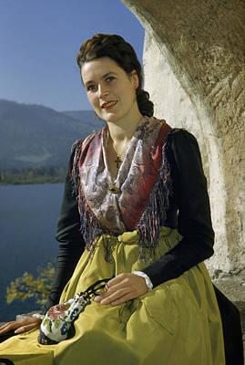 Seated Woman Wears Dirndl Skirt Art Print by Volkmar Wentzel