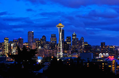 Seattle At Night From Kerry Park Art Print