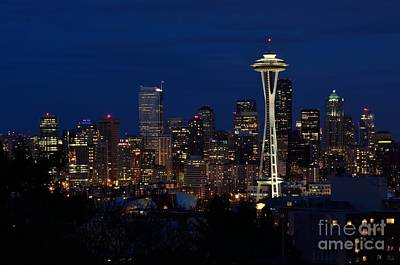 Photograph - Seattle In The Evening by Alan Clifford