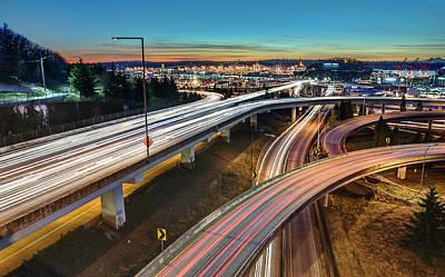Seattle Interstates, Sunset, And Light Trails Art Print by Stephen Kacirek