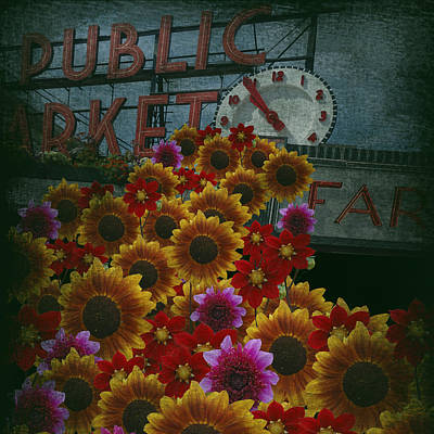 Farmers Market Digital Art - Seattle Public Market 2012 by Jeff Burgess