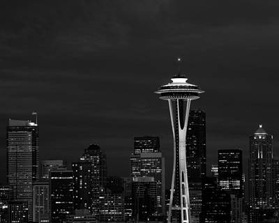 Photograph - Seattle Skyline At Night In Black And White by Mark J Seefeldt