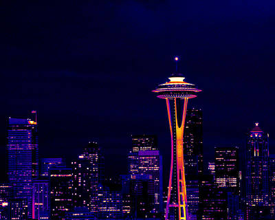 Photograph - Seattle Skyline At Night In Thermal Color by Mark J Seefeldt