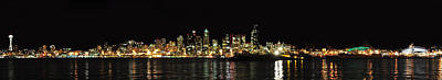 Photograph - Seattle Skyline At Night by Jack Moskovita