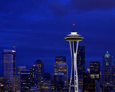 Photograph - Seattle Skyline At Night by Mark J Seefeldt