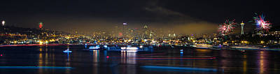 Seattle Skyline Firework Panorama Print by Dmitry Grekov