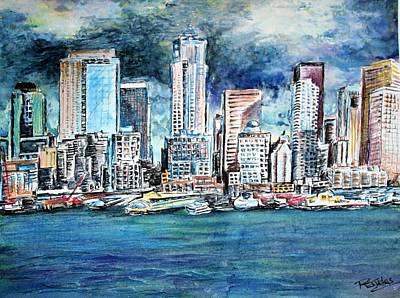 Painting - Seattle Skyline by Richard Jules