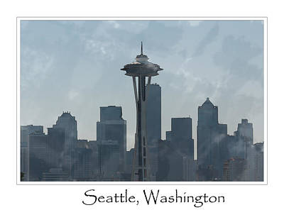 Digital Art - Seattle Washington Skyline by Brandon Bourdages