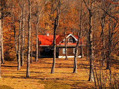 Secluded Red Roof Cottage In An Autumn Scene Art Print by Chantal PhotoPix