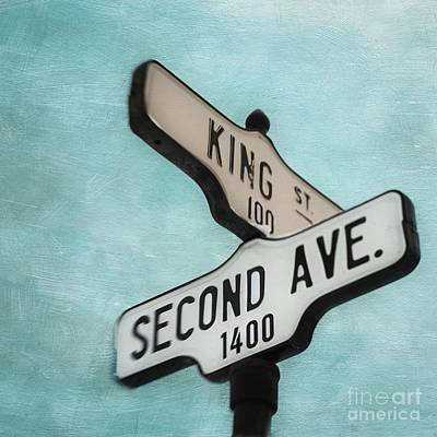 Road Sign Photograph - second Avenue 1400 by Priska Wettstein