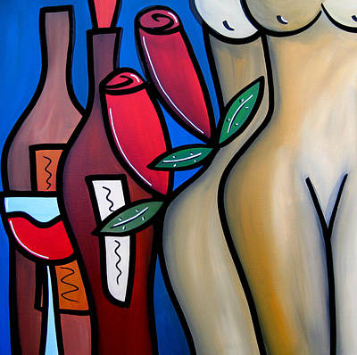 Contemporary Abstract Drawing - Secret - Nude Wine Art By Fidostudio by Tom Fedro - Fidostudio