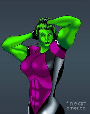 She-hulk Digital Art - Secret War She-hulk by Seamus Corbett