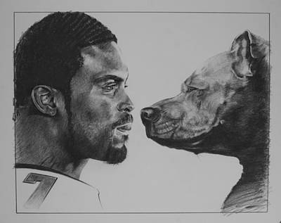 Michael Vick Drawing - See Vick Run by Paul Autodore