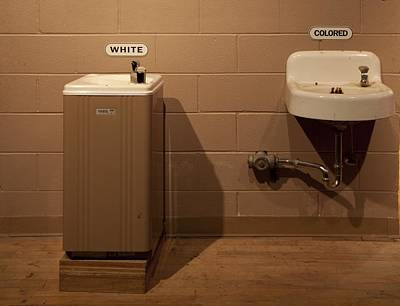 Segregated Water Fountains On Display Art Print by Everett