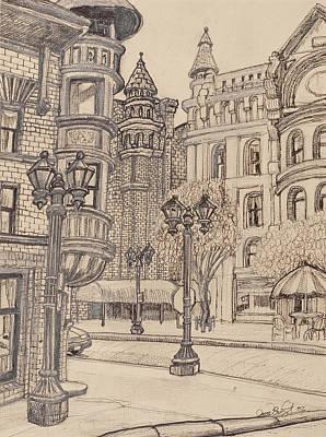 Lamp Post Drawing - Selby Corner by David Bratzel