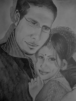 Indian Portrait In Pencil Painting - Self And Hubby Portrait by Shakhenabat Kasana