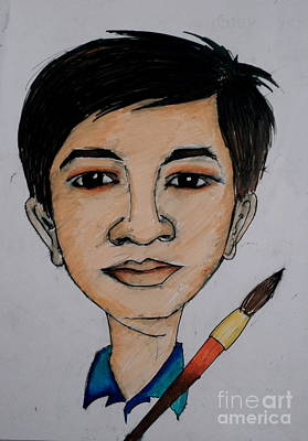 Drawing - Self Carrcature by Tanmay Singh