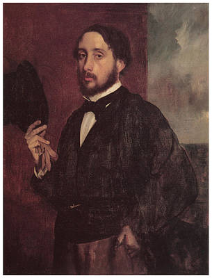 Artist Self Portrait Painting - Self-portrait Degas Lifting His Hat by Edgar Degas