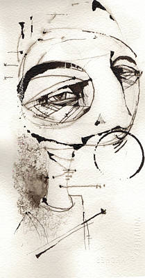Painting - Self Portrait In Black And White by Mark M  Mellon
