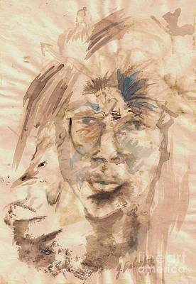 Self Portrait Ink And Beet Art Print by Jamey Balester
