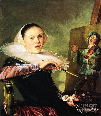 Painting - Self Portrait Judith Leyster by Pg Reproductions