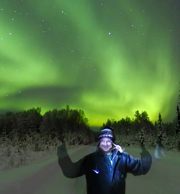 Northern Lights Photograph - Self Portrait With Lights by John Aldabe