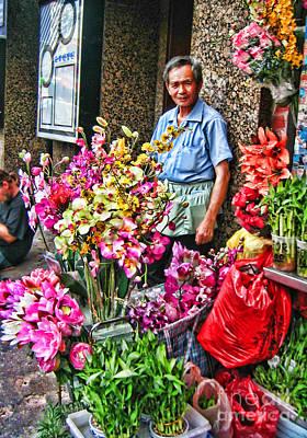 Selling Flowers In Chinatown Art Print by Anne Ferguson