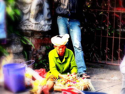 Selling Offerings On Ubud Streets Art Print by Funkpix Photo Hunter