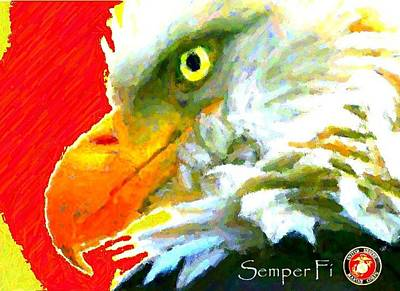Digital Art - Semper Fi by Carrie OBrien Sibley