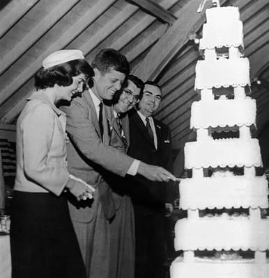 Senator John Kennedy Cutting An Print by Everett