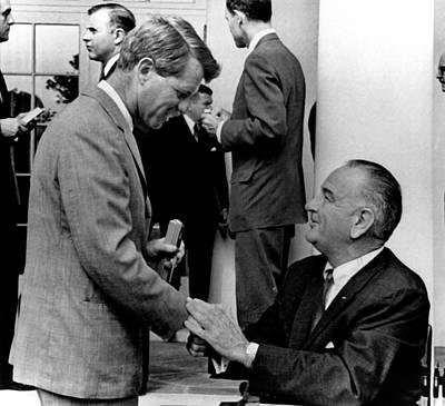 Lyndon Photograph - Senator Robert F. Kennedy Shakes Hands by Everett